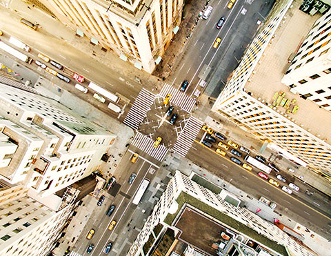 Intersection of city street from above