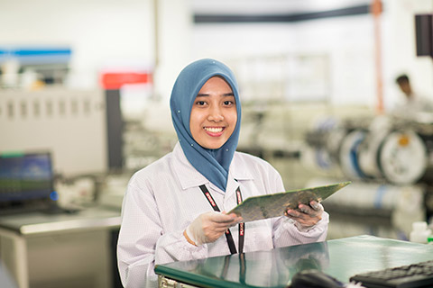 Plexus employee with PCBA